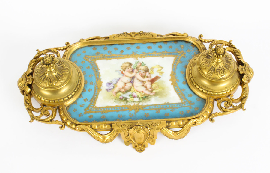 Antique Antique French Ormolu & Sevres Porcelain Standish Inkstand 19th Century