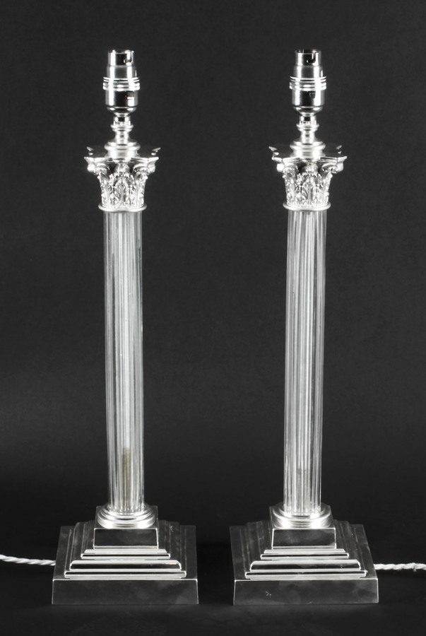 Antique Antique Pair Edwardian Silver Plated & Glass CorinthianTable Lamps C 1910
