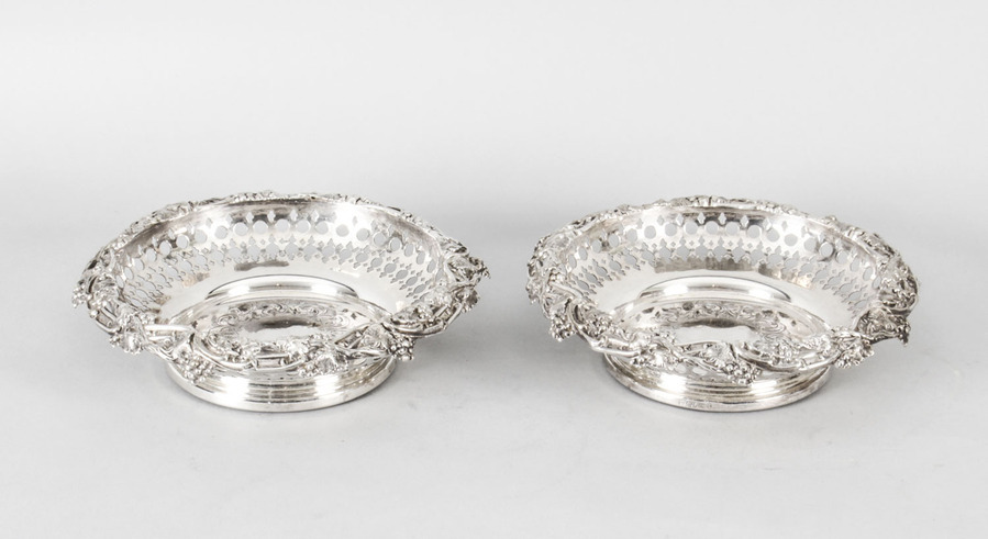 Antique Antique Pair Silver Plated Wine Coasters by Henry Waterhouse 19th Century