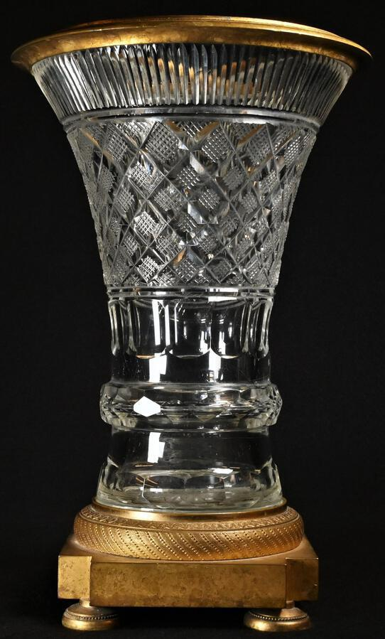 Antique Antique French Cut Crystal & Ormolu Mounted Campana Vase c. 1830 19th C