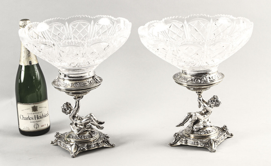 Antique Antique Pair English Victorian Silver Plate & Cut Glass Centrepieces 1883 19th C