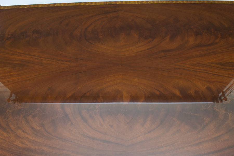 Antique Bespoke Contemporary Flame Mahogany Coffee Table With Two Drawers
