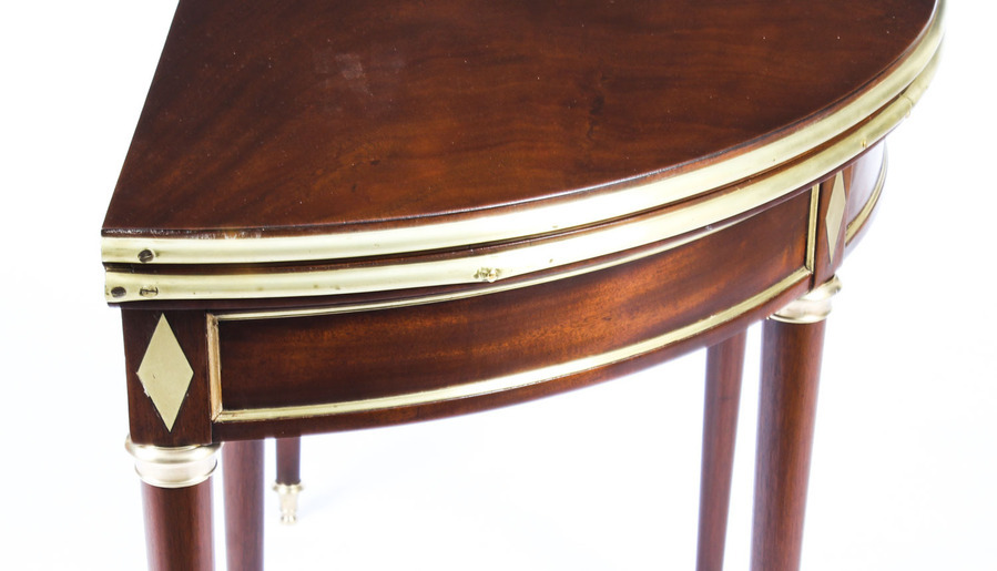 Antique Antique French Directoire Brass Mounted Card Table Early 19th Century