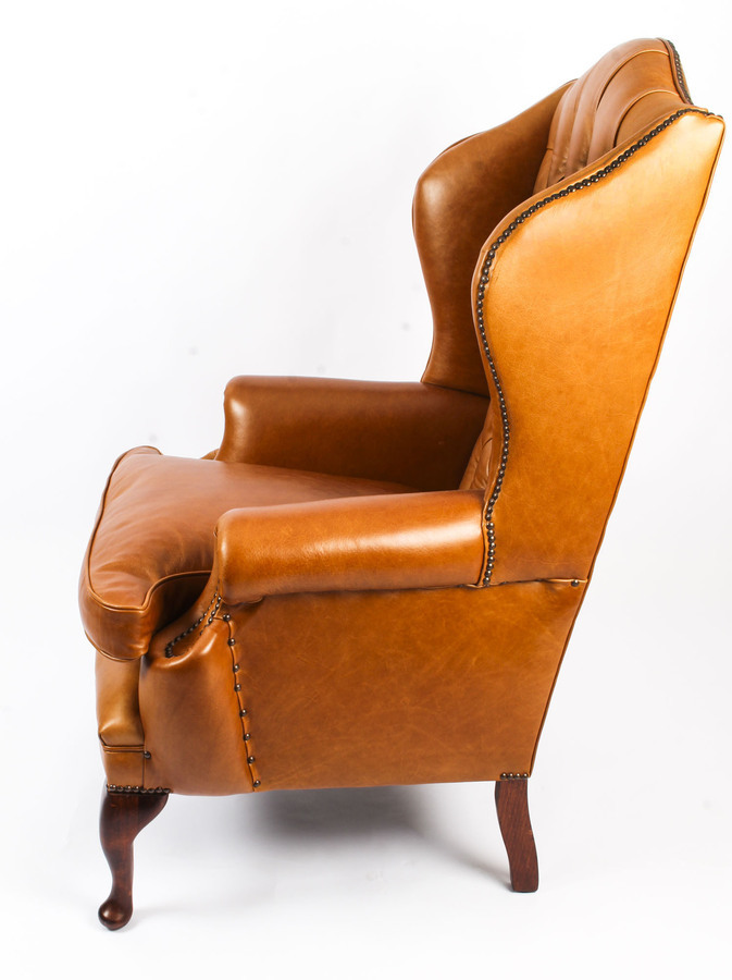 Antique Bespoke Leather Queen Anne Wingback Armchair Bruciato