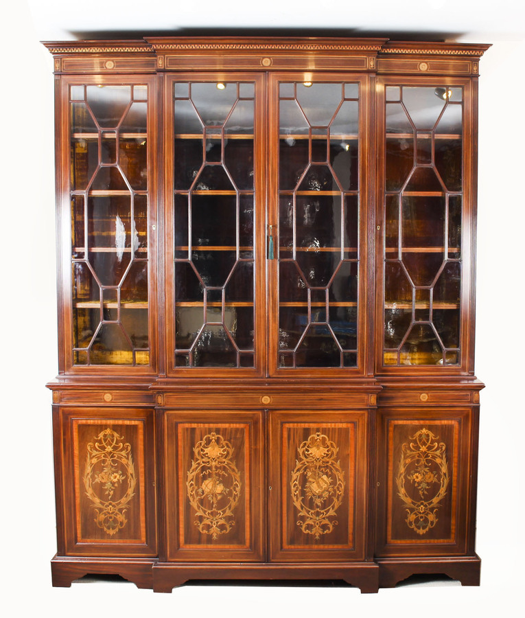 Antique Antique Inlaid Four Door Breakfront Bookcase by Edwards & Roberts 19th C