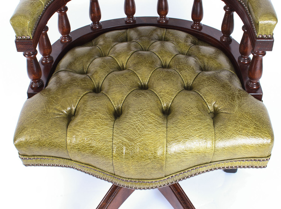 Antique Bespoke English Hand Made Leather Captains Desk Chair Murano Leaf Green