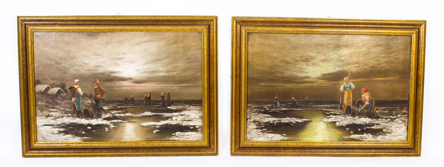 Antique Antique Pair Paintings 'Sea View of Britanny' L Biro 20th Century C1920
