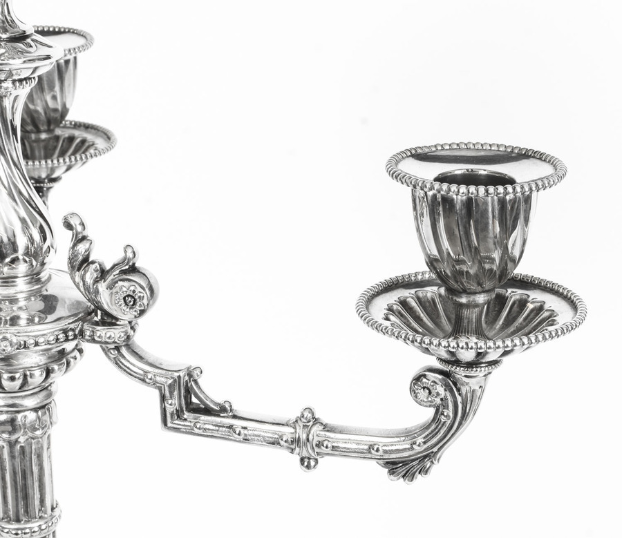 Antique Antique Pair Neo Classcal Silver Plated 4 Light Candelabra Hodd & Linley 19thC