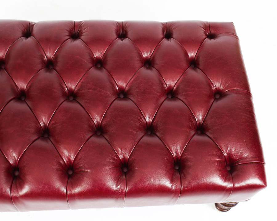 Antique Bespoke Button Backed Burgundy Leather Stool Ottoman 2ft 8