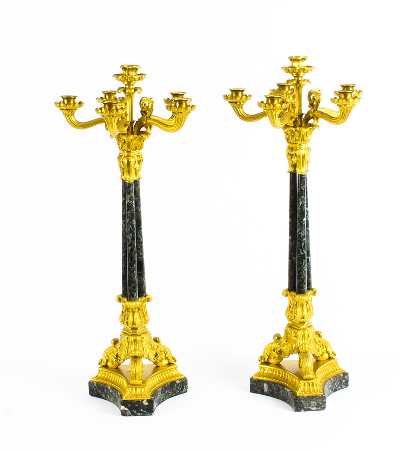 Antique Antique Pair French Ormolu & Marble Candelabra C1850 19th Century