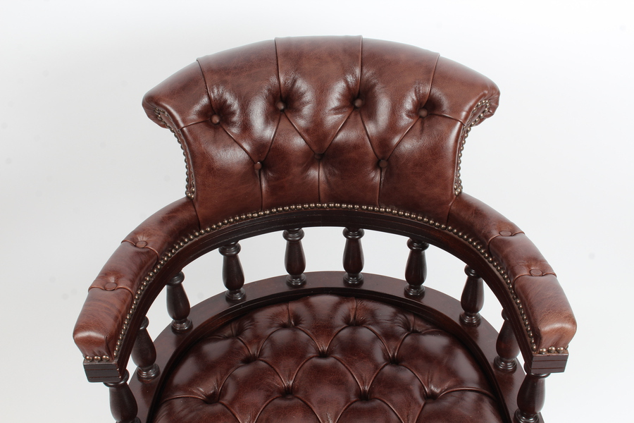 Antique Bespoke English Hand Made Leather Captains Desk Chair Dark Brown Colour