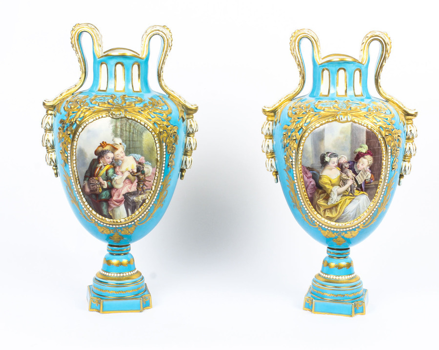 Antique Antique Pair of French Sevres Porcelain Bleu Celeste Vases 18th Century