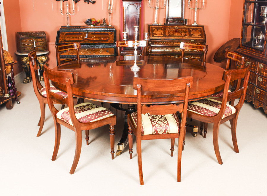 Antique Bespoke 7ft Regency Flame Mahogany Jupe Dining Table & 8 chairs 21st C