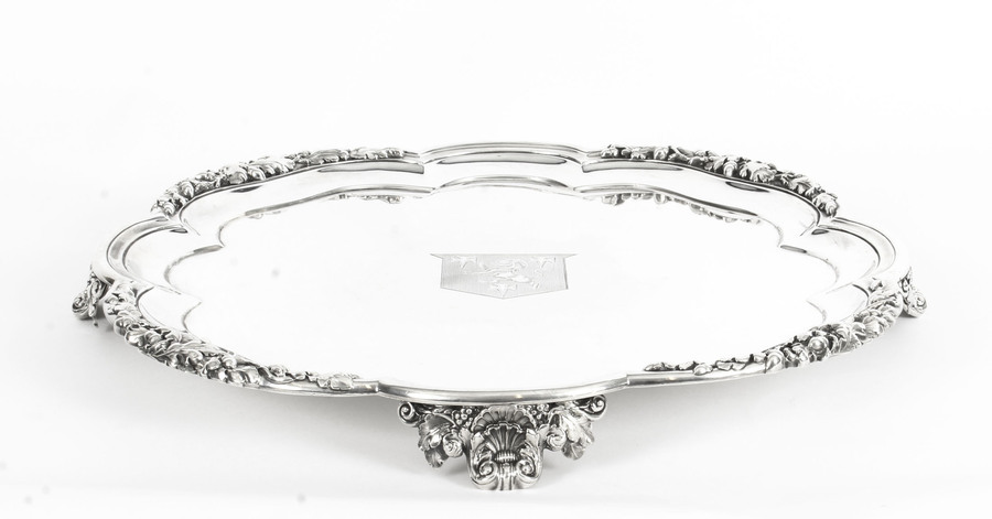 Antique Antique Large William IV Silver Tray Salver by Paul Storr 1837 19th Century