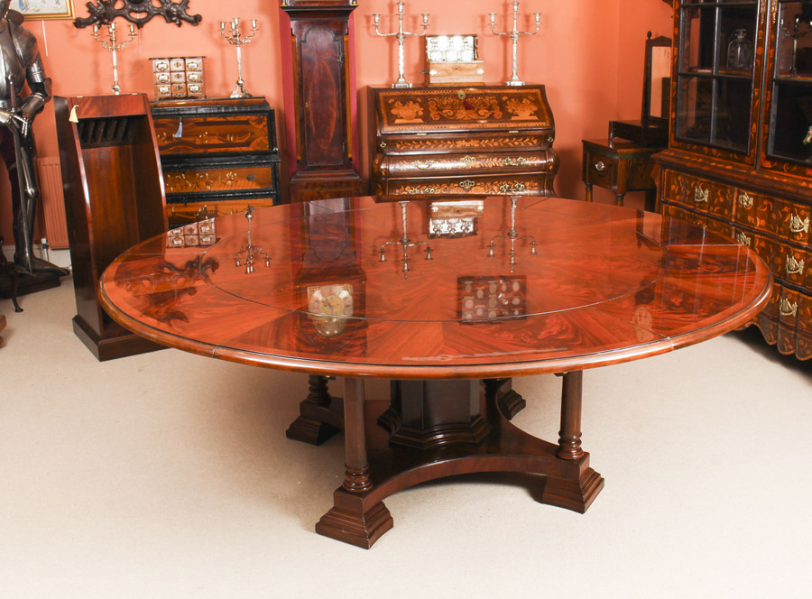 Antique Bespoke 7ft Regency Flame Mahogany Jupe Dining Table & 10 chairs 21st C