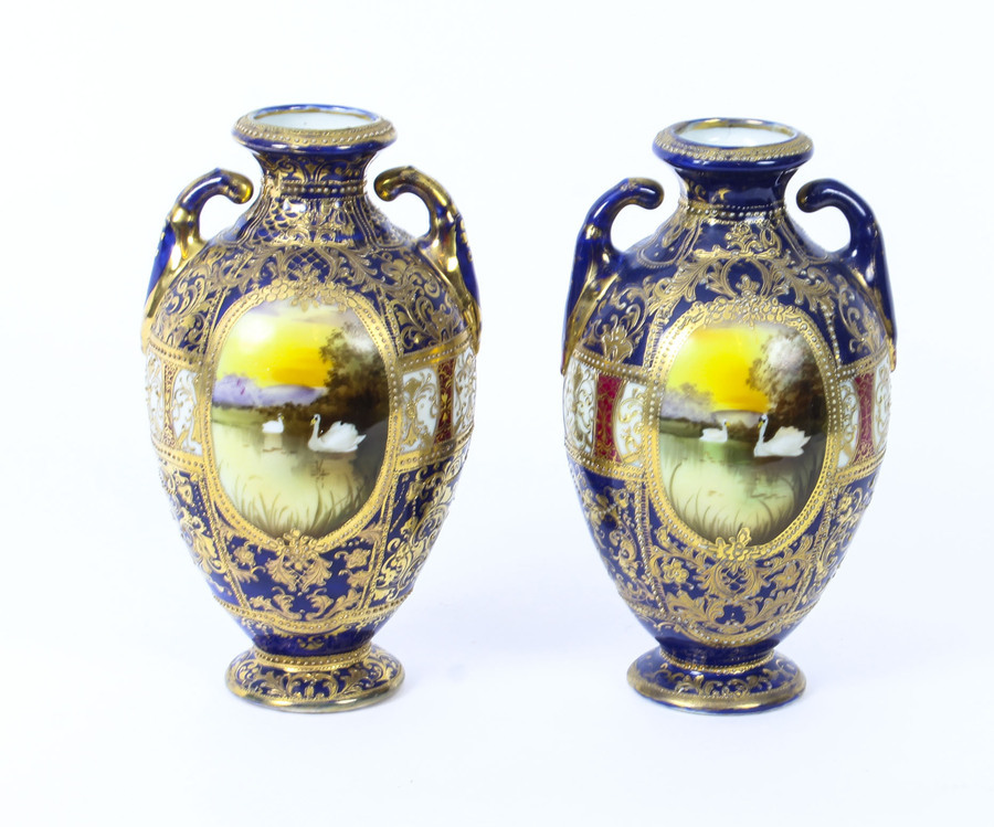 Antique Antique Pair Taisho Period Noritake Hand Painted Porcelain Vases C1920