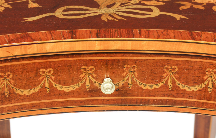 Antique Antique Pair English Marquetry Kidney Shaped Occasionally Tables 19th C