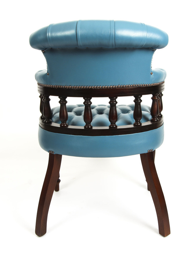 Antique Bespoke English Hand Made Leather Captains Desk Chair Blue Teal