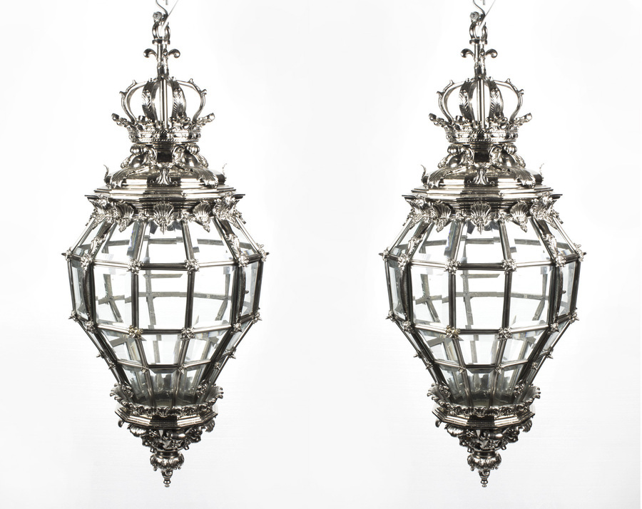 Antique Pair Versailles Huge Silver Bronze Diamond Baluster Lanterns