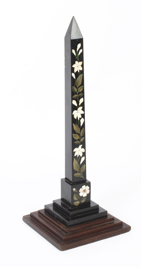 Antique Antique Victorian Ashford Pietra Dura Marble Obelisk 19th Century