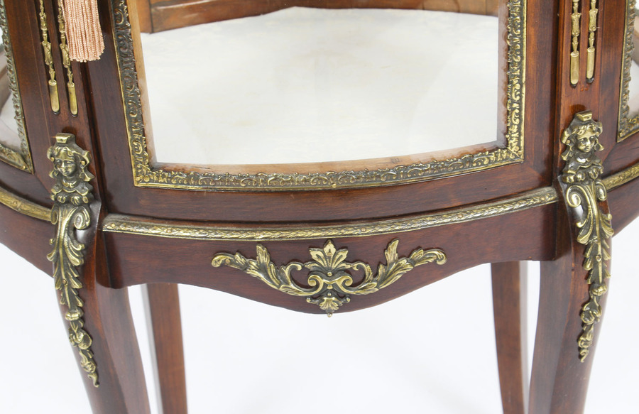 Antique Antique Mahogany Ormolu Mounted Bijouterie Display Cabinet 19th Century