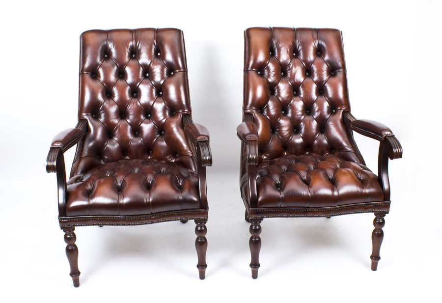 Antique Bespoke Pair English Handmade Carlton Leather Desk Chairs BBO