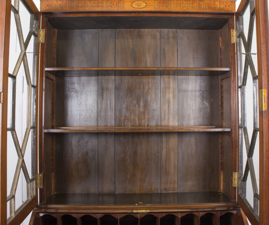 Antique Antique English Victorian Mahogany Bureau Bookcase C1860