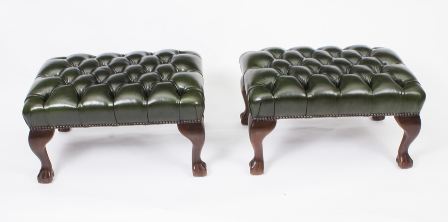 Antique Bespoke Pair of Chippendale Ball & Claw Leather Stools Emerald Green