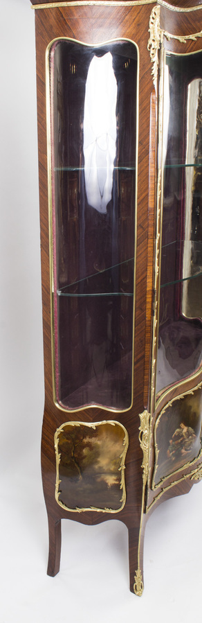 Antique Antique French Kingwood Vernis Martin Display Cabinet c1880