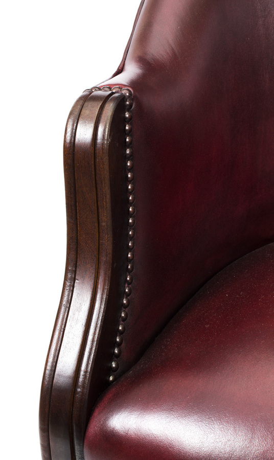 Antique Bespoke Pair English Handmade Leather Desk Chairs Burgundy