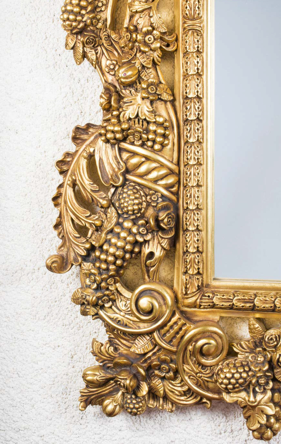 Antique Huge Decorative Ornate Florentine Giltwood Mirror 190 x 150 cm