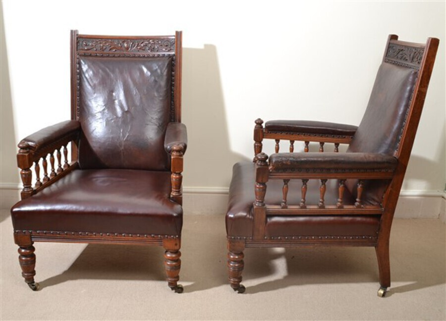 Antique Antique Pair of English Leather Armchairs c.1880