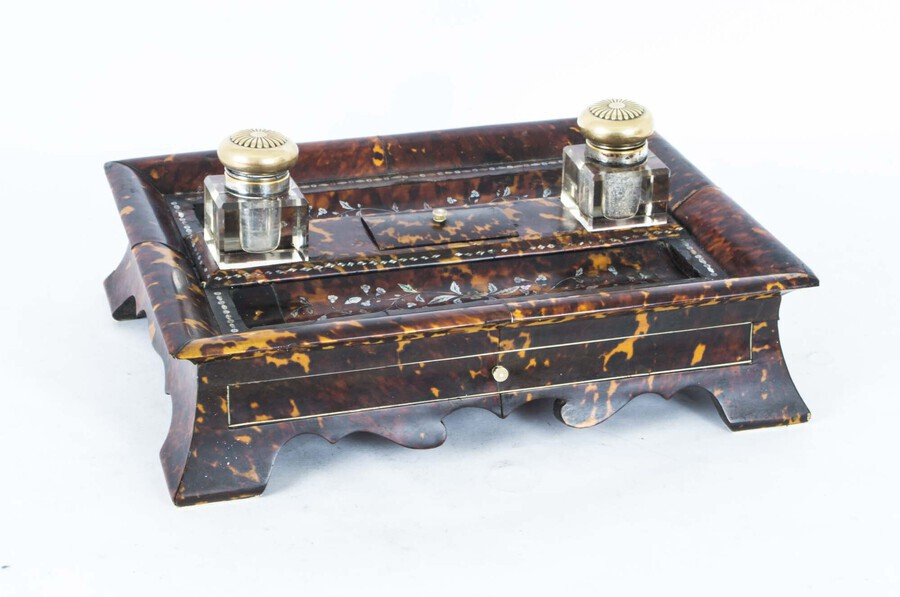 Antique Antique Willliam IV Inlaid Mother of Pearl Boulle Inkstand c.1830