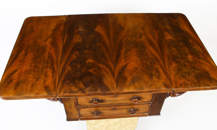 Antique Antique William IV Drop Leaf Work Occasional Table Flame Mahogany 19th Century