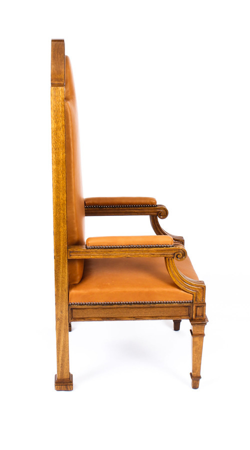 Antique Antique Pair of Victorian Oak & Leather High Back Throne Chairs Ca 1870 19th C