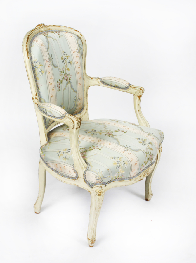 Antique Antique Pair Shabby Chic Louis Revival French Painted Armchairs 19th Century