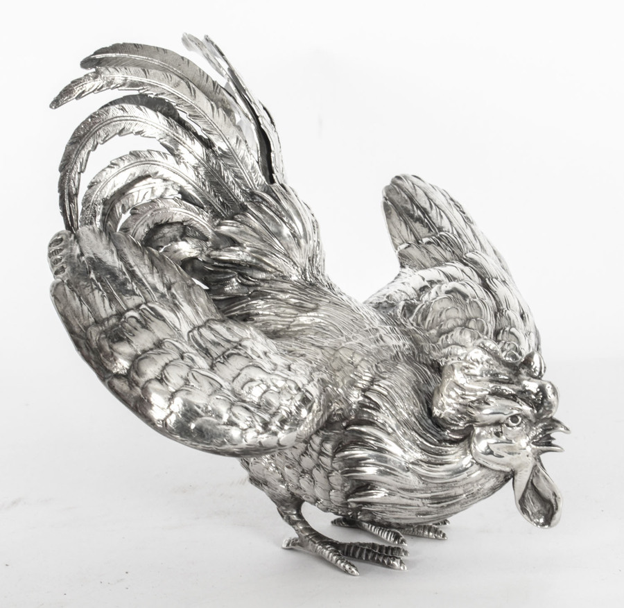 Antique Antique French Sterling Silver fighting cockerel C 1880 19th C