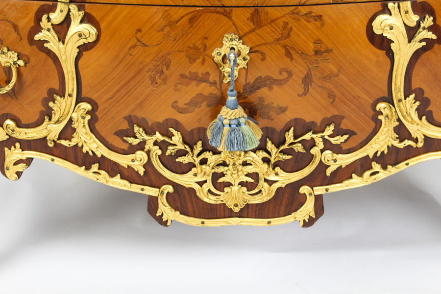 Antique Antique Louis XV Revival Ormolu Mounted Marquetry Commode C1920