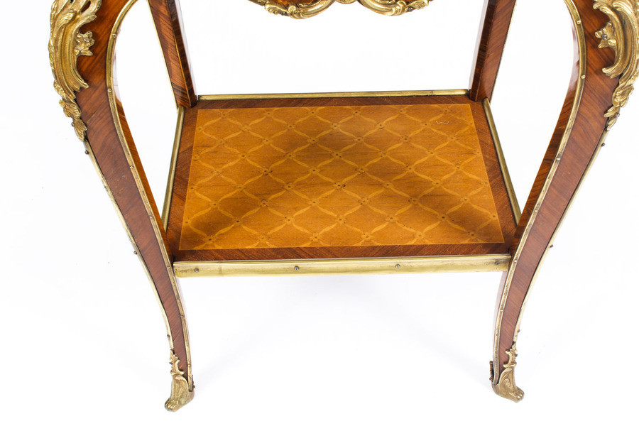 Antique Antique Pair Louis Revival Kingwood Marquetry & Ormolu Side Tables 19th C