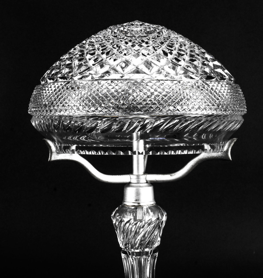 Antique Antique Edwardian Crystal Cut Glass Table Lamp Circa 1900