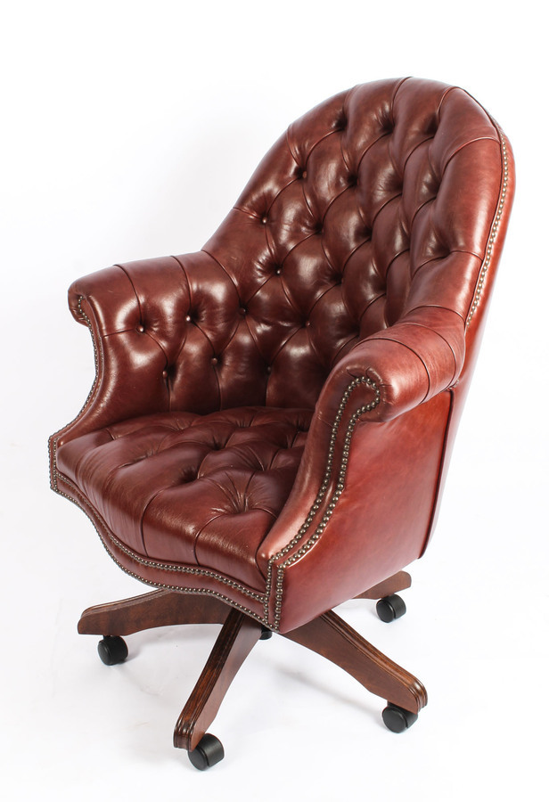 Antique Bespoke English Hand Made Leather Directors Desk Chair Chestnut