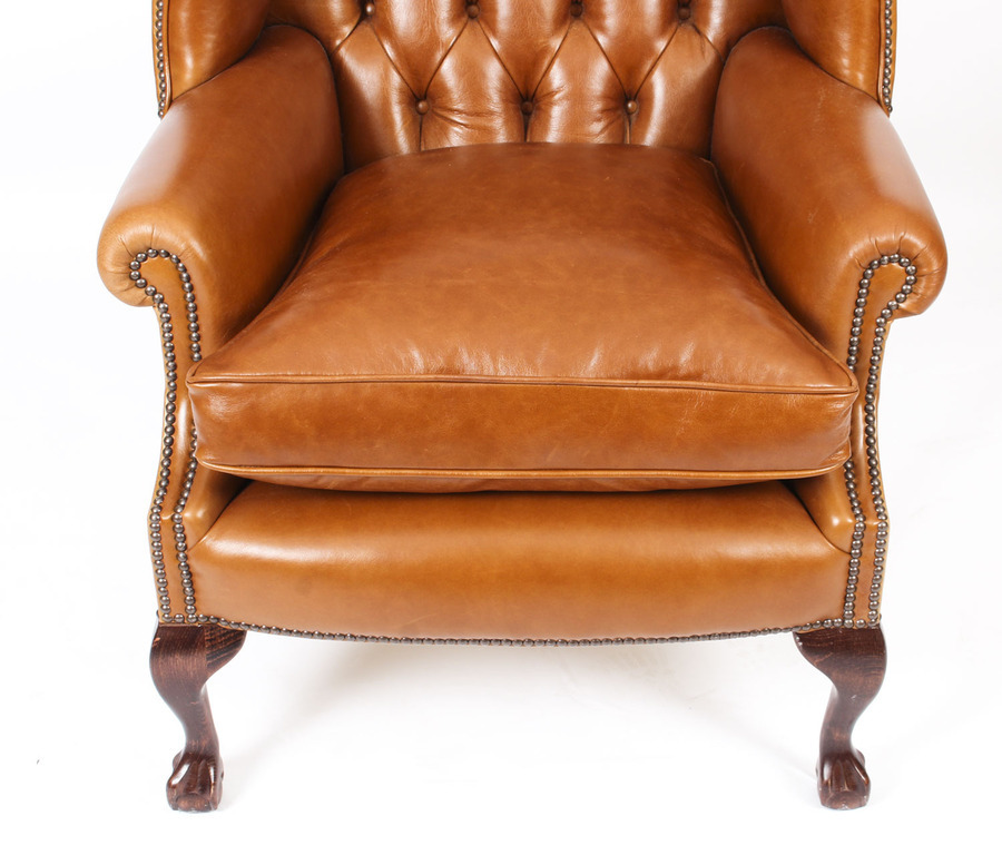 Antique Bespoke Leather Chippendale Wingback Chair Armchair Bruciato