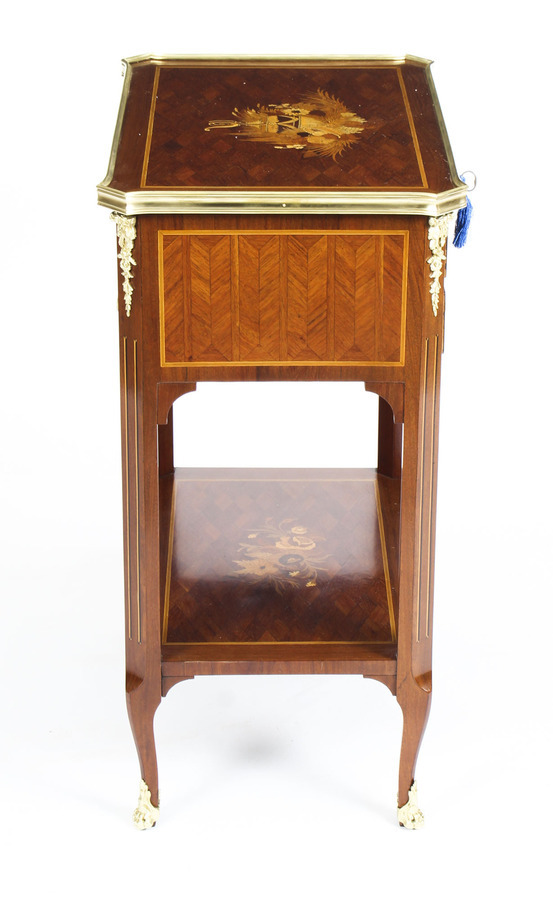 Antique Antique French Parquetry & Marquetry Table en Chiffonière Work Table 19th C
