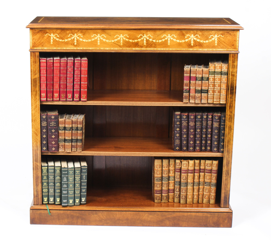 Antique Bespoke Sheraton Revival Low Burr Walnut Open Bookcase