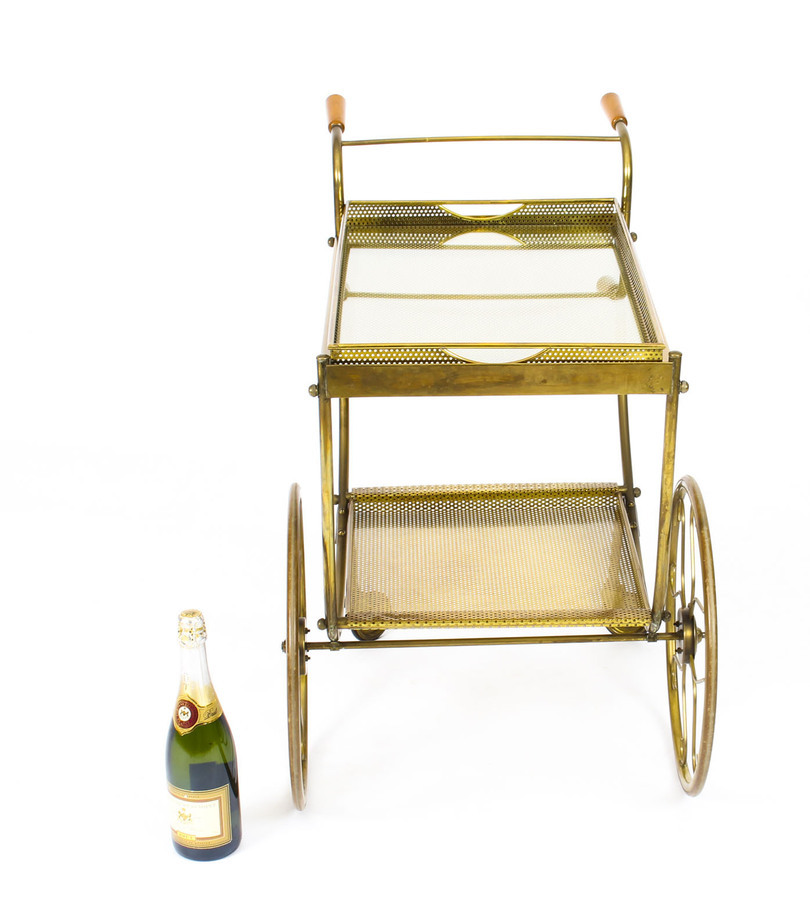 Antique Antique French Modernist Gilded Drinks Serving Trolley Mid Century