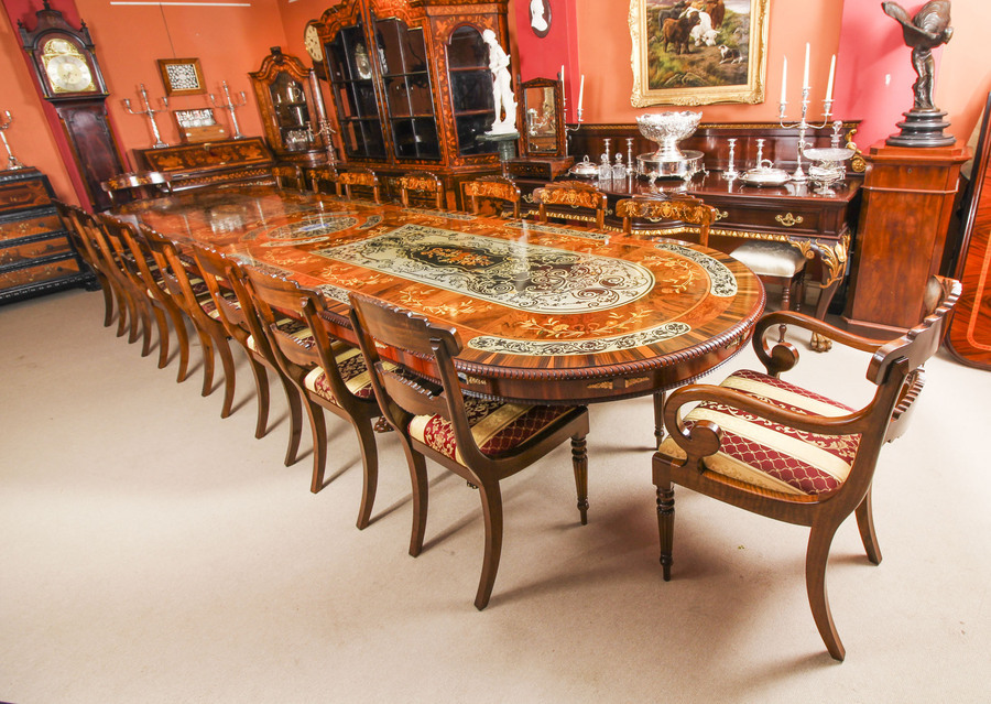 Antique Bespoke 17ft Dining Table, Pewter, Lapis Lazuli & Agate Inlaid & 16 Chairs