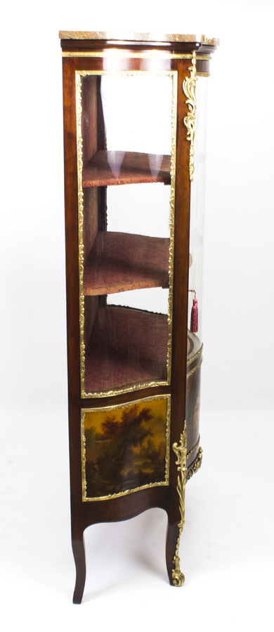 Antique Antique French Vernis Martin Mahogany Display Cabinet c.1880