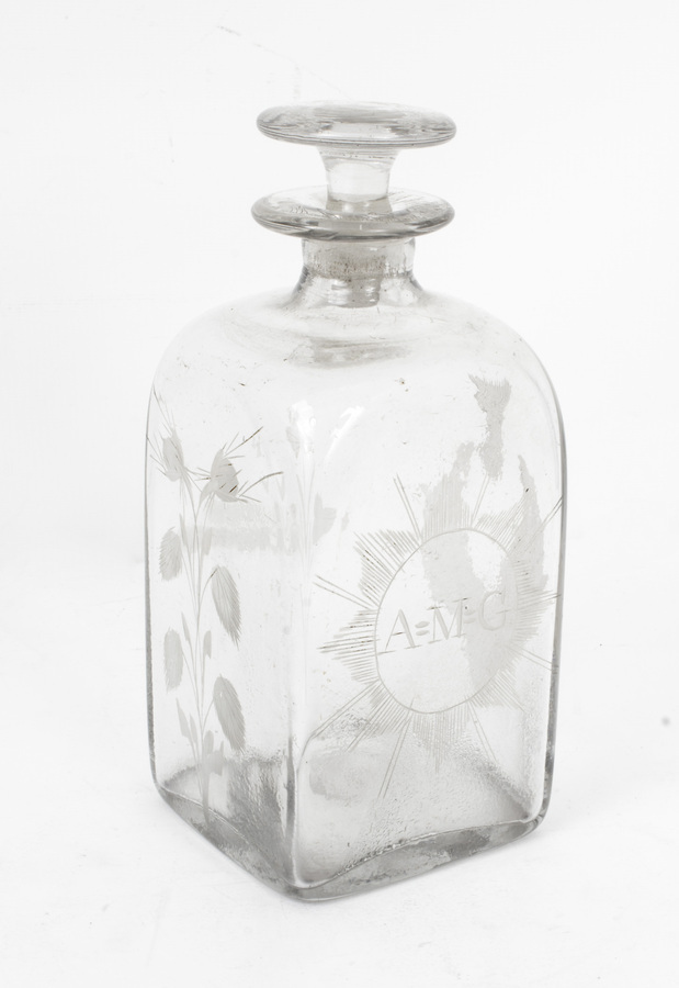 Antique Antique Pair of Etched Glass Decanters Thistles c.1900