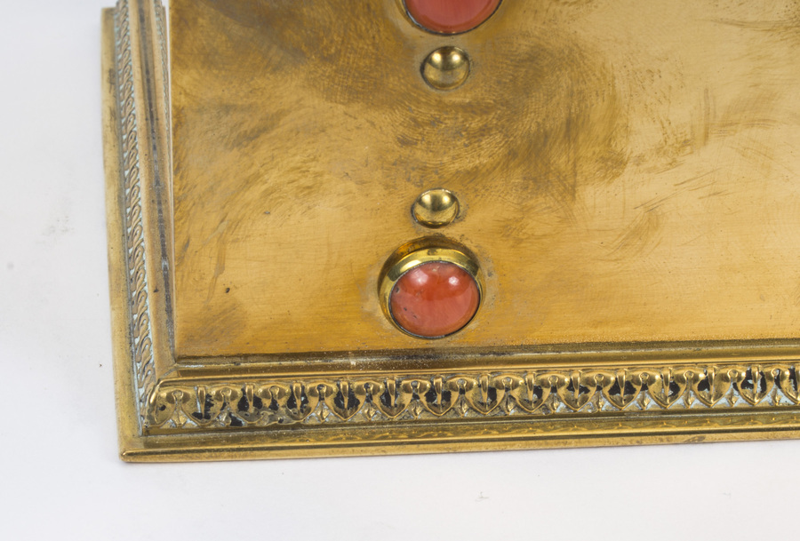 Antique Antique French coral mounted brass letter stationary box C1880