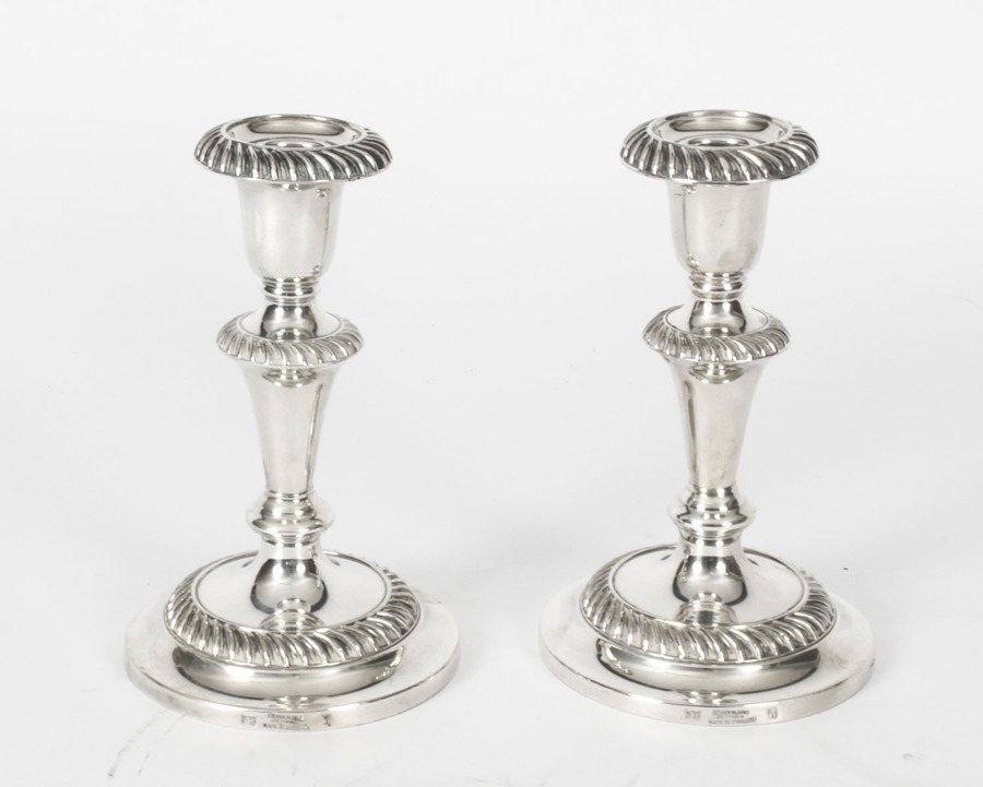 Antique Antique Pair Silver Plate Candlesticks by Sydney Latimer C1910